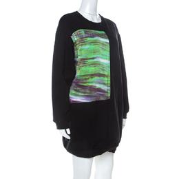 MCQ by Alexander McQueen Black Abstract Print Cotton Sweatshirt Dress L 234793