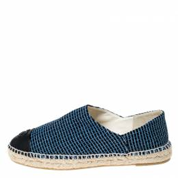Chanel Blue/Black Tweed And Leather CC Cap Toe Espadrille Flats Size 41 235461