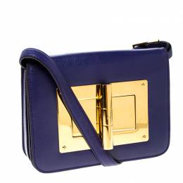 Tom Ford Purple Leather Small Natalia Crossbody Bag 232630