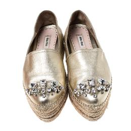 Miu Miu Metallic Gold Leather Crystal Embellished Platform Flats Espadrille Size 38 234814