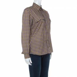 Prada Purple and Yellow Checked Cotton Button Front Shirt S 234492