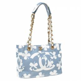 Chanel Blue/White CC Floral Print Canvas Chain Tote 232053