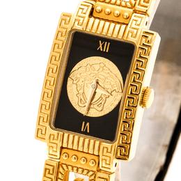 Gianni Versace Black Gold Plated Signature Medusa 7009017 Women's Wristwatch 20 mm 235197