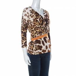 Just Cavalli Brown Animal Printed Jersey Top XS 235999