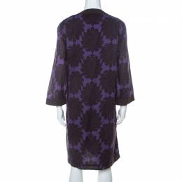 Tory Burch Purple and Brown Floral Print Cotton Safo Tunic XL 234962
