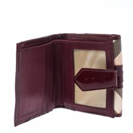 Burberry Burgundy/Beige Nova Check PVC and Patent Leather French Wallet 235181