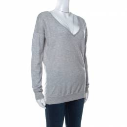 Joseph Grey Wool Knitted Long Sleeve Deep V Neck Top S 234600