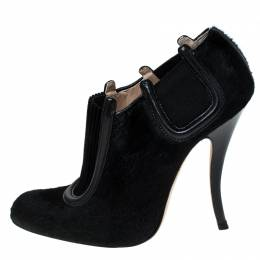 Manolo Blahnik Black Pony Hair And Suede Peresil Putre Shetland Ankle Boots Size 37.5 235436