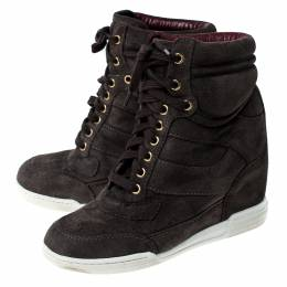 Marc By Marc Jacobs Grey Suede Wedge Lace Up Sneakers Size 36