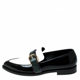 Burberry Monochrome Leather Buckle Slip On Loafers Size 39.5 235400