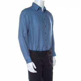 Etro Blue Houndstooth Patterned Jacquard Button Front Shirt M 233384