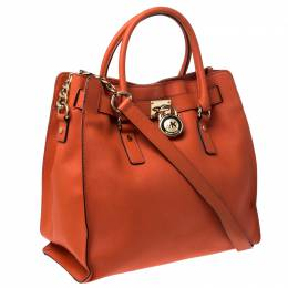 MICHAEL Michael Kors Orange Saffiano Leather Large Hamilton North South Tote 230471