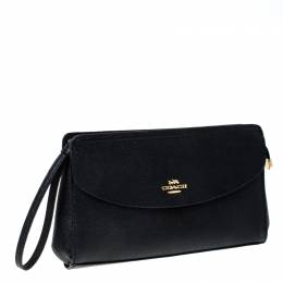 Coach Black Leather Flap Pouch 231935