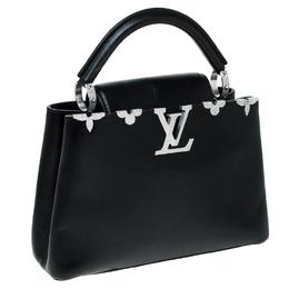 Louis Vuitton Black Leather Crystal Flowers Capucines BB Bag 231732