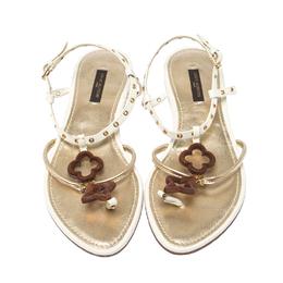 Louis Vuitton Cream Eyelet Embellished Thong Flat Sandals Size 37 231894