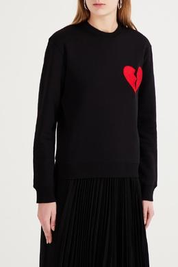 Черный джемпер с красным сердцем MSGM 296158687