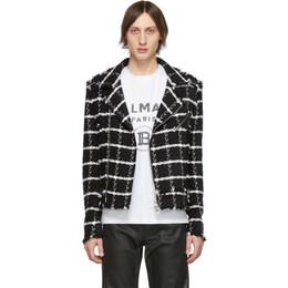 Balmain Black and White Checked Tweed Jacket 192251M18000402GB