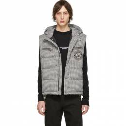 Balmain Black and White Down Houndstooth Vest 192251M18500205GB