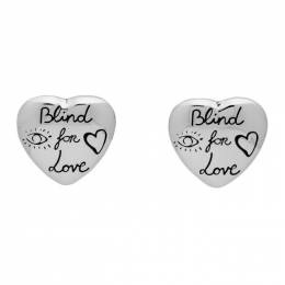 Gucci Silver Blind For Love Heart Stud Earrings 201451F02200401GB