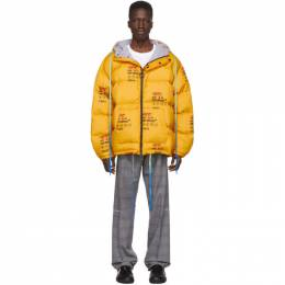 Off-White Yellow Down Industrial Puffer Jacket 192607M17800704GB