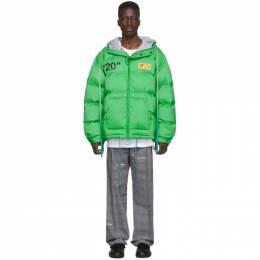 Off-White Green Down Zipped Puffer Jacket 192607M17800603GB