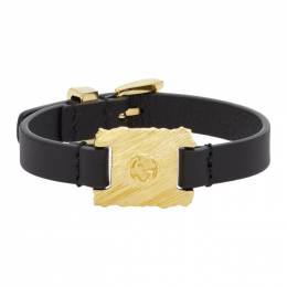 Gucci Black and Gold Textured Metal and Leather Bracelet 192451F00700401GB