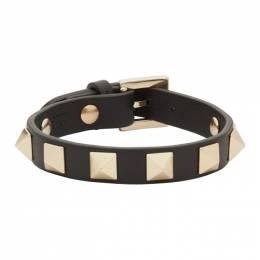 Valentino Black Valentino Garavani Undercover Edition Rockstud Rose Bracelet 192476F02001201GB