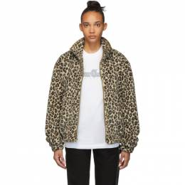 Noon Goons Brown and Gold Faux-Fur Leopard Jacket 192764F06300301GB
