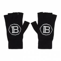 Balmain Black Logo Fingerless Gloves 192251M13500101GB