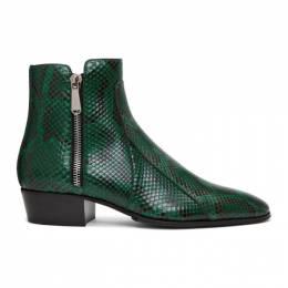 Balmain Green and Black Python Mike Boots 192251M22800506GB