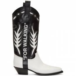 Off-White Black and White Cowboy Boots 192607M22300707GB