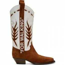 Off-White Brown and White Cowboy Boots 192607M22300807GB
