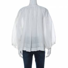 Zadig & Voltaire White Cotton Blend Lace Trim Trone Deluxe Blouse XS 235417
