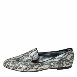 Roger Vivier Black Lace And Satin Slip On Loafers Size 36 236154