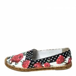 Dolce&Gabbana Multicolor Floral Print Leather Espadrille Flats Size 41 236028