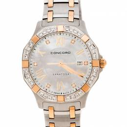 Concord Mother of Pearl Stainless Steel Rose Gold CVC Coated Diamonds Saratoga 0320169 Women's Wristwatch 31 mm 235298