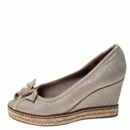 Tory Burch Beige Canvas Jackie Bow Espadrille Wedge Pumps Size 35 235901