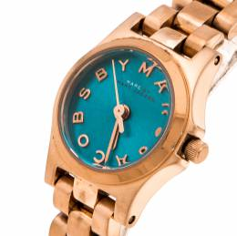 Marc By Marc Jacobs Blue Rose Gold Plated Stainless Steel Henry Dinky MBM3328 Women's Wristwatch 20 mm 235834