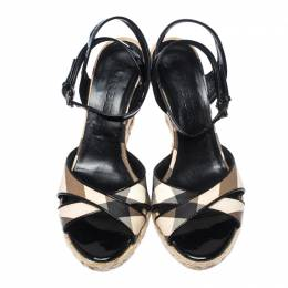 Burberry Black Patent Leather And Novacheck Canvas Espadrille Wedge Sandals Size 36.5 233757