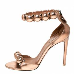 Alaia Metallic Bronze Leather Embellished Open Toe Ankle Cuff Sandals Size 37.5