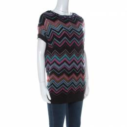 M Missoni Multicolor Chevron Knit Tunic Sweater S