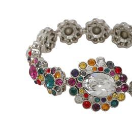 Miu Miu Rebels Multicolor Crystal Silver Tone Floral Bracelet 235813