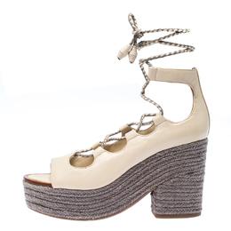 Tory Burch Beige/Grey Leather Positano Espadrille Platform Sandals Size 37.5 233175