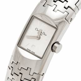 Christian Dior Silver Stainless Steel Diorific Houndstooth D96-100 Women's Wristwatch 15 mm 235856
