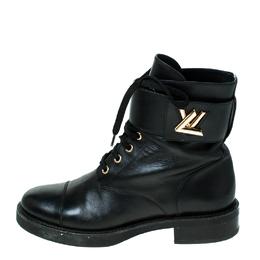 Louis Vuitton Black Leather Wonderland Ranger Ankle Boots Size 38 236194