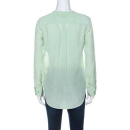 Equipment Light Green and Ivory Raindrop Print Silk Button Front Shirt XS 235943