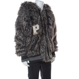 Dolce&Gabbana Grey Faux Fur Wolf Hood Bomber Jacket XXL 235890