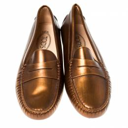 Tod's Metallic Bronze Leather Gommino Slip On Loafers Size 38.5 235974