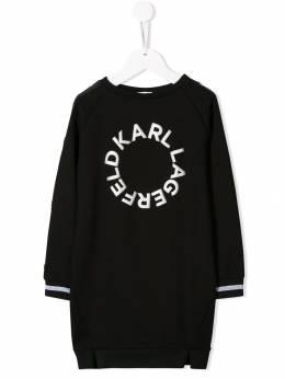 Karl Lagerfeld Kids - платье-свитер с логотипом 96693999939366650000