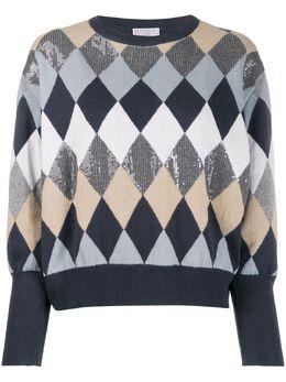 Brunello Cucinelli - argyle pattern jumper 989566CE330956603830